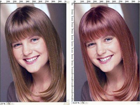 Меняем цвет волос в фотошоп