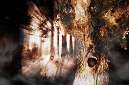 """Коллаж """"Кричащее дерево"""""""