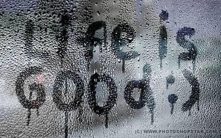 Текст на влажном окне