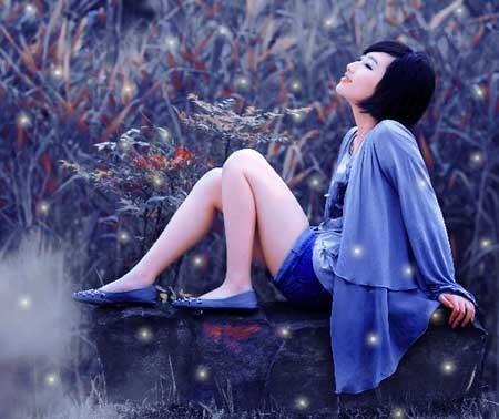 Романтический фиолетово-синий эффект