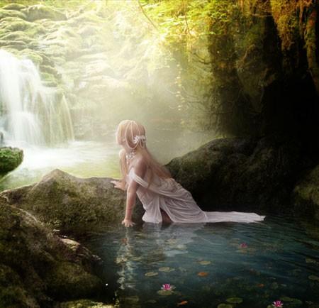 "Коллаж ""Девушка у водопада"""