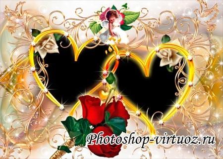 """Рамка """"Сердечки, амур и розы"""""""
