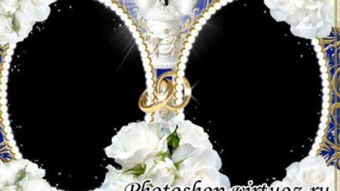 Рамка «Сияние золота и нежные розы»