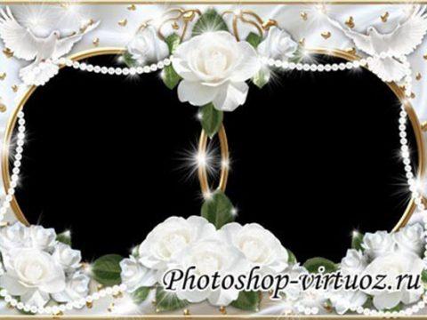 Рамка «Море белых роз»