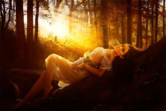 Коллаж «Девушка в лесу»