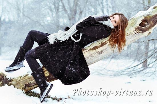Реалистичный снег в Фотошоп