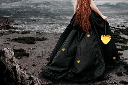 Дублируйте несколько раз и разместите золотые украшения на платье девушки. .  Дорисуйте проволоку на которой крепятся...