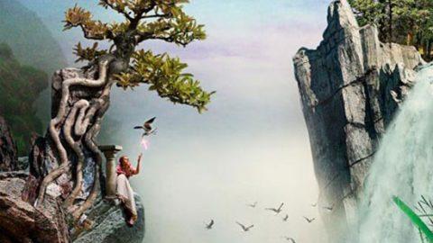 Коллаж «Девушка на скале»